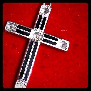 Vintage Silver Tone Black Enamel Rhinestone Cross